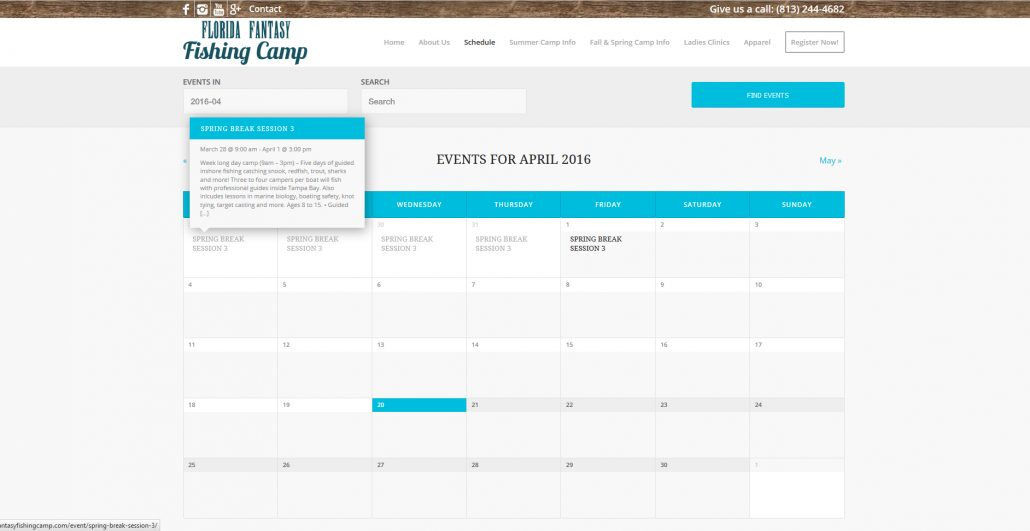 Events Calendar Page